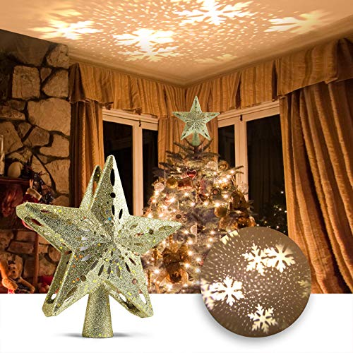 Delicacy Christmas Tree Topper, Lighted Star Tree Toppers with LED Rotating Snowflake Projector Lights, Gold Star Snow Tree Topper for Holiday Party Xmas Tree Decorations