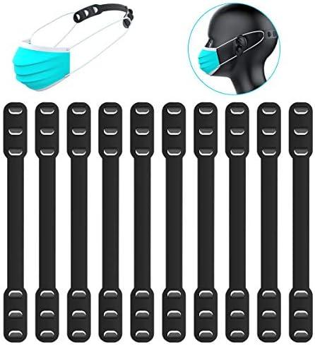 10 PCS Mask Extender, Maskenhaken Anti-Tightening Ear Protector Dekompressionshalter Haken Ohrriemen Zubehör (Schwarz)