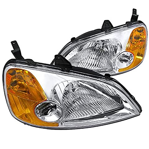Spec-D Tuning 2LH-CV01-RS Honda Civic 2/4 DR Crystal Headlights Clear Head Lamps (2002 Honda Lx)