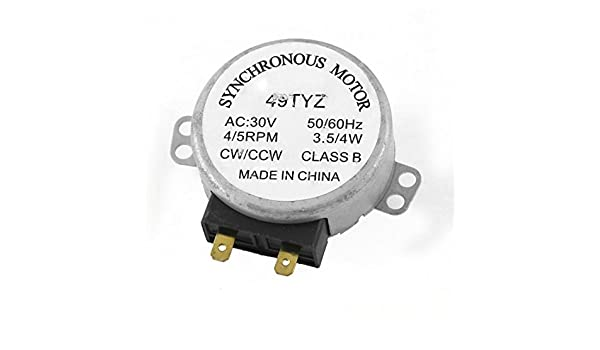 AC 30V 3.5 / 4W 4/5 RPM Motor sincrónico 49TYZ Para horno de microondas: Amazon.com: Industrial & Scientific