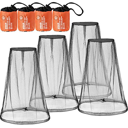 Net Package - 4 Pack Mosquito Head Net Face Mesh Net Head Protecting Net for Outdoor Hiking Camping Climbing Walking Mosquito Fly Insects Bugs Preventing (Big Size, Black)