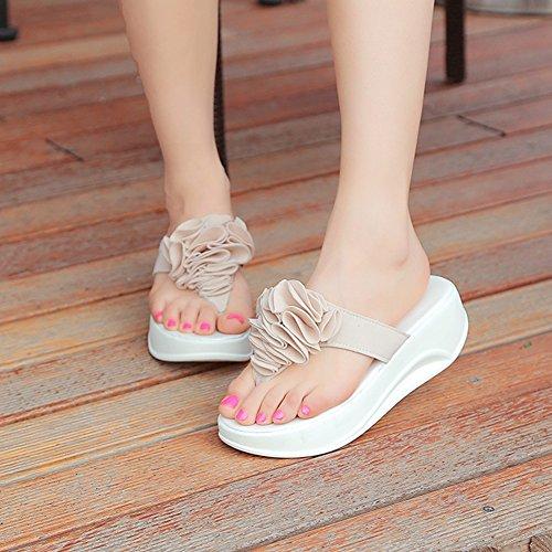 Btrada Womens Flower Summer Beach Slipper Sandals Mid Waterproof Platform Flip Flop Apricot dRwS3