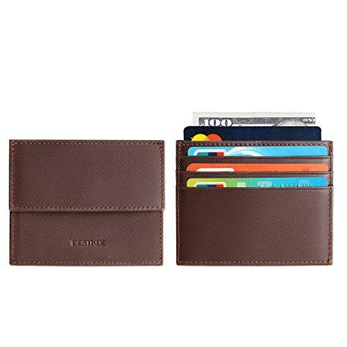 RFID cartera de piel Para Hombre - negro Slim bolsillo titular de la tarjeta de Crédito Monedero para los hombres - Marrón -: Amazon.es: Ropa y accesorios