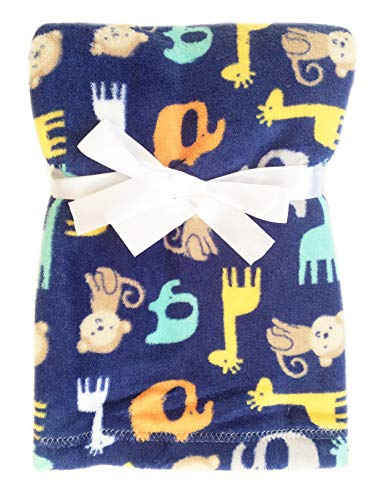 Super Soft Plush Lightweight Furry Fleece Brown Monkey Yellow Giraffe Green Elephant Zoo Animal Print Baby Navy Blue Boy Blanket Gift ()