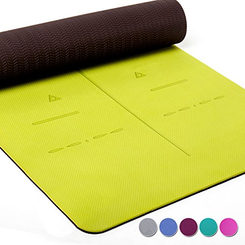 Heathyoga LIMITED TIME DEAL Eco Friendly Non Slip Yoga Mat, Body Alignment System, SGS Certified TPE Material - Textured Non Slip Surface and Optimal Cushioning,72'x 26' Thickness 1/4