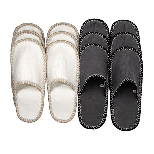 Indoor 6 Set Slip Slippers Non Square Felt House Star Pairs Toe Guest SLIPPERTREND Fleece Close Family wZ6qIcvT