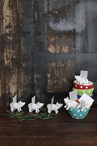 Ceramic Pig Name Card Holders Set Of 6 W/ 12 Cards In Bag White Finish Country Farm Home D