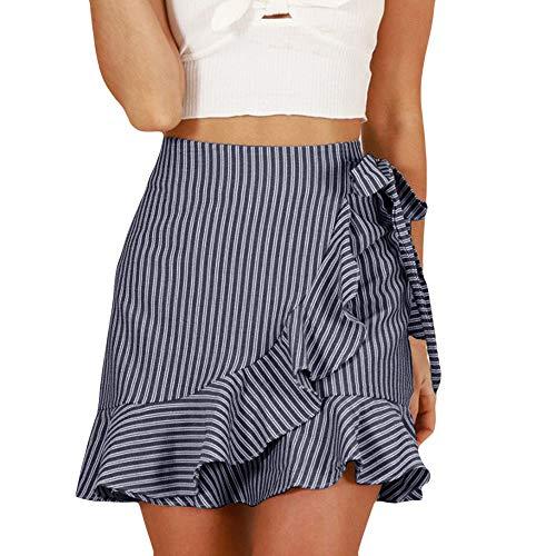 QueenMMWomen's Striped Asymmetrical Ruffles High Waist Printed Cute Casual Mini Skirt ()