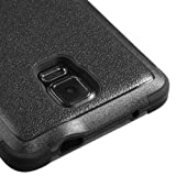 Kaleidio (Mybat Natural TUFF) Dual Layer Shock Proof Hybrid Case Cover w/ Metal Kickstand for Samsung Galaxy Note IV 4 [Package Includes a Overbrawn Prying Tool & Stylux Stylus/Pen Dust Plug Combo] - Retail Packaging [Black/Black]