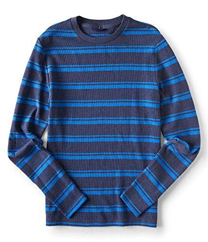 Aeropostale Mens Varsity Stripe Thermal Sweater, Blue, X-Large ()