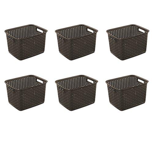 Sterilite 12736P06 Tall Weave Basket, Espresso, - Basket Plastic