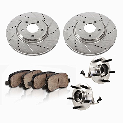 Brake Hub Assembly - C513124X2DS [2] FRONT [ 5 Lug 4WD AWD ABS ] Wheel Hub Bearing Assemblies + Drilled/Slotted Rotors + Brake Pads