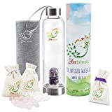 Crystal Elixir Glass Water Bottle with Stainless Steel, Leak-Proof Lid, 3 Stone Varieties, 16.9 Ounce, Portable Gem Water Bottles with Neoprene Sleeve, Perfect for Meditation and Healing - Drinkware