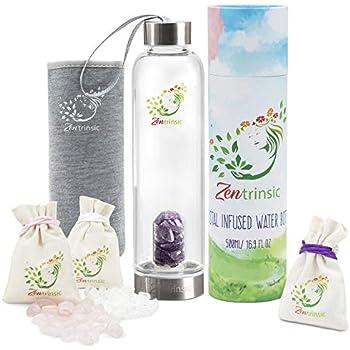 Amazon.com: Botella de agua de elixir de cristal de gema ...
