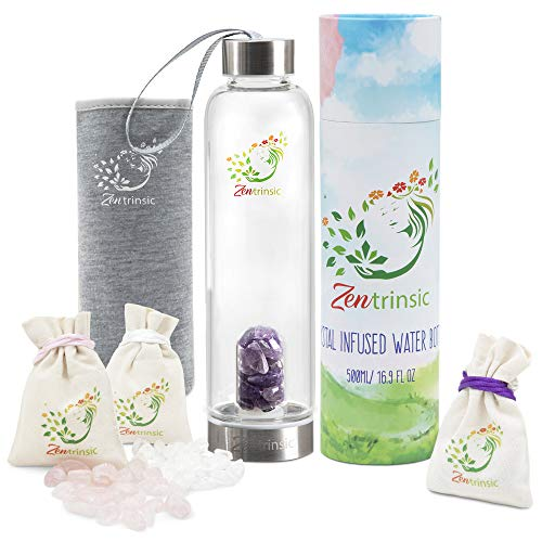Crystal Elixir Glass Water Bottle with Stainless Steel, Leak-Proof Lid, 3 Stone Varieties, 16.9 Ounce, Portable Gem Water Bottles with Neoprene Sleeve, Perfect for Meditation and Healing - Drinkware (A Gem Healing)