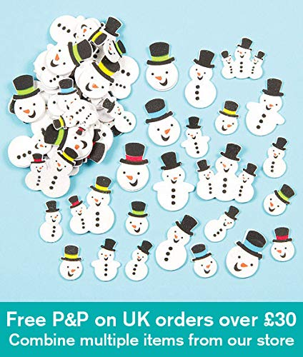 Baker Ross Snowman Glitter Foam Stickers for Children to Decorate Cards Crafts and Collage (Pack of 80) ()