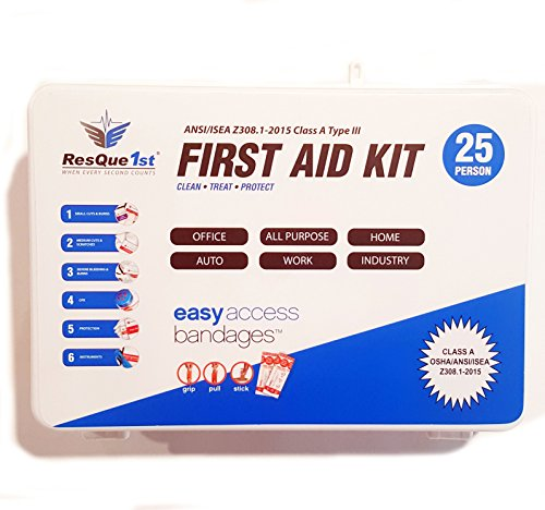 Super Sale- First Aid Kit: Complete ANSI Class A 2016 · Emergency Preparedness Kit · Business · Home · Camping · Boat · Outdoors · Sports - ResQue1st