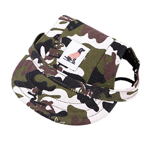 (YJYdada Dog Hat Dog Hat with Ear Holes Summer Canvas Baseball Cap for Small Pet Dog Outdoor (S, Camouflage))
