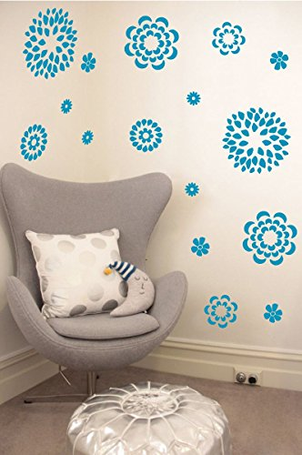 Flower Pattern Wall Decal - Removable DIY Vinyl Sticker Girls Room Art Home Decor Graphic Transfer (Teal, 19x24 inches) (Vinyl Transfers Wall)