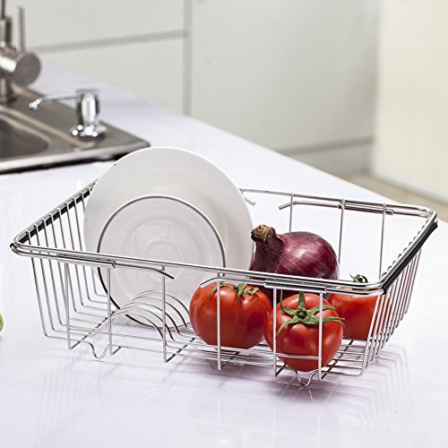 - Adjustable Over Sink Dish Drying Rack Stainless Steel Dish Drainer, On Counter or In Sink Dish Rack, Deep and Large- Rustproof
