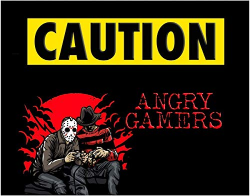 Angry Gamers Inspired by Jason & Freddie Krueger Art Print - 11x14 Unframed Photo Wall Art - Fun Gift for a Gamer or Sports Fan. Perfect for the Game Room, Bedroom, Man Cave. Poster Decor Under $20 -