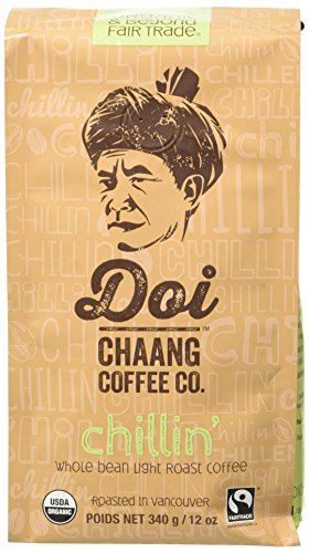 Doi Chaang Coffee Whole Bean Blend Coffee, Chillin' Light Roast, 12 Ounce