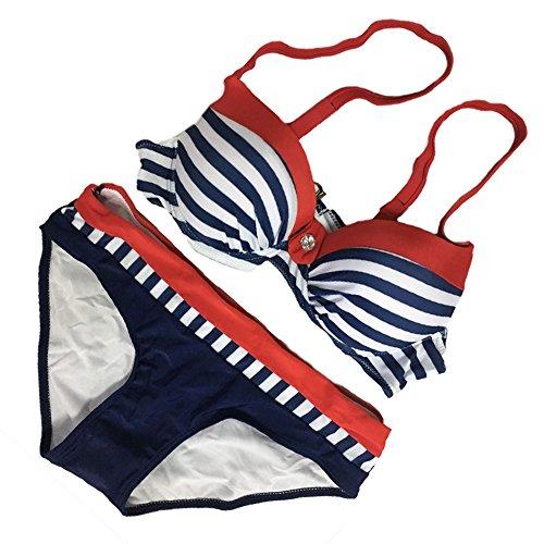 Fy Size Rosso Costume Estate Brasiliano Print Da Busto Swimwear Costumi Grande Sexy Push Vacanza Bagno Up Donna Plus Striscia Bikini rqFaHwrW