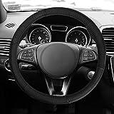 honda civic 2003 steering wheel - FH GROUP FH2007 Sleek & Sporty Genuine Leather Steering Wheel Cover, Black Color- Fit Most Car, Truck, Suv, or Van