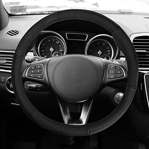 FH GROUP FH2007 Sleek & Sporty Genuine Leather Steering Wheel Cover, Black Color- Fit Most Car, Truck, Suv, or Van 1999 Audi A4 Steering