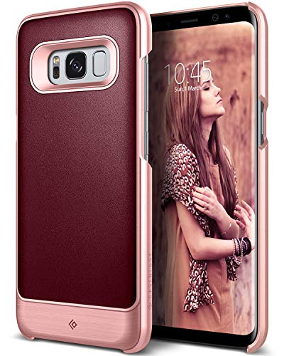 Galaxy S8 Case, Caseology [Fairmont Series] Slim Premium PU Leather Impact Protection Ultra Low-Profile for Samsung Galaxy S8 (2017) - Burgundy