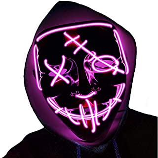 Halloween Mask LED Light Up Mask Scary Glowing Mask for Festival Cosplay Halloween Costume Party (pink)