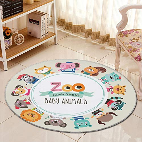 3D Jungle Animals Cartoon Carpet Chair Mat Flannel Area Rug Baby Crawling Rugs Kids Bedroom Big Round Carpets