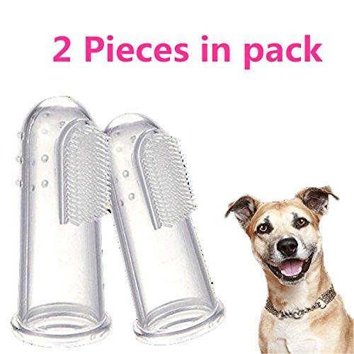 Panghuhu88 2Pcs Dog Soft Finger Toothbrush Pet Oral Dental Brush Helps Reduce Plaque