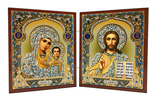 Icon Diptych Christ The Teacher and Virgin of Kazan Wooden Russian Orthodox