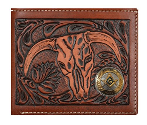 Short badge Tan Brown Texas Company Checkbook Wallet inch 1 Cow Custom New Belt 3D and Rodeo Long Mason Skull pFq8U8