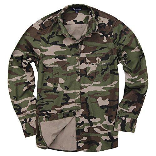 Urban Camouflage T-shirt - Urban Boundaries Women's Classic Long Sleeve Military Style Shirt (Army Green Camo, Medium)