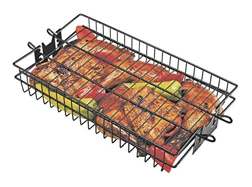 (GrillPro 24785 Non-Stick Flat Spit Rotisserie Grill Basket, 16