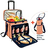 Picnic at Ascot Original Equipped Cooler on Wheels for 4 - Extra Wine Tote - Designed and Assembled in California - Diamond Orange