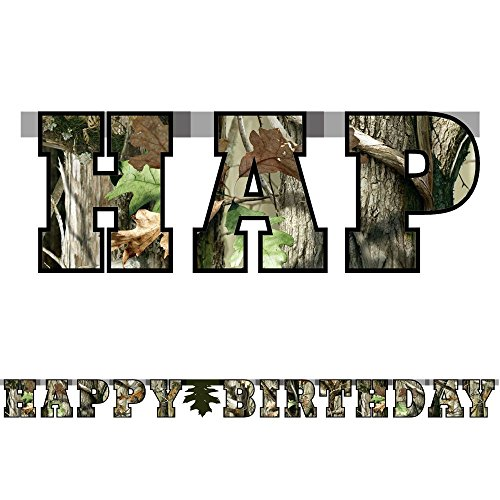 Happy Birthday Banner (Large, 7 Cardboard Cutout Letters, Orange Birthday Numbers Included) Hunting Camo Party Collection by Havercamp