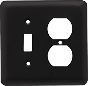Franklin Brass W10253-FB-C Stamped Round Single Toggle Switch & Duplex Wall Plate/Switch Plate/Cover, Flat Black