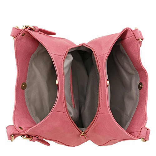 Hobo weight Bag Medium Faux 3 Leather Light Pink Compartment wqPnY