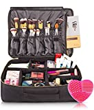 habe Large Travel Makeup Bag - CRACK-PROOF Dividers! Big Professional Make Up Bag Organizer Train Case for Women - Cosmetic Organizers Storage Box, Bags, Cases for Makeup Artists (BONUS Brush Cleaner)