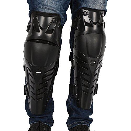 GuTe Knee Pads Black Adjustable Long Leg Sleeve Gear Crashproof Antislip Protective Shin Guards for Motorcycle Mountain Biking-1 Pair