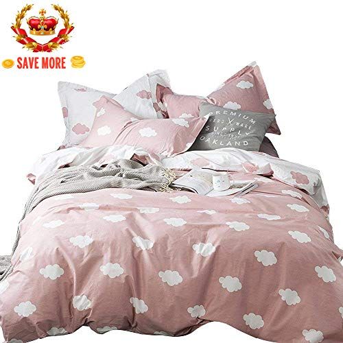 BuLuTu Cloud Print Kids Duvet Cover Twin Pink White Cotton for Girls,Stylish Super Soft Premium Cute Modern Reversible Pink Teen Bedding Sets Twin Comforter Cover with Zipper Closure,No Comforter (Cover Duvet Pink Twin)