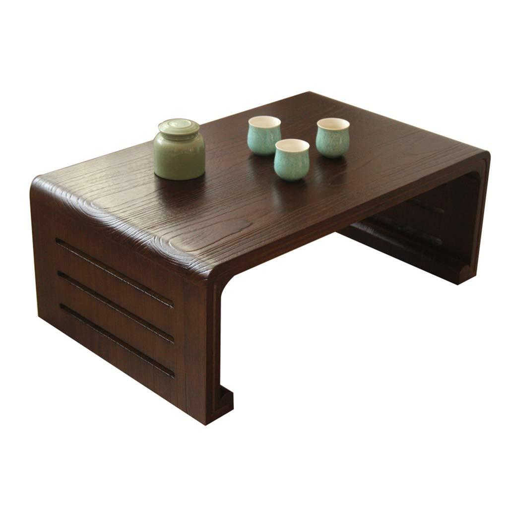 HSLXD.SMZZ Solid Wood Tea Table Household Bay Window Table Multifunction Square Low Table Simple Japanese-Style Table Piano Table Children's Study Reading Table,Brown,1155530CM by HSLXD.SMZZ
