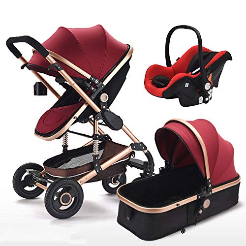 TIKENBST Baby Stroller 3 in 1 High Landscape Multifunctional Pram Portable Foldable Pushchair,Red
