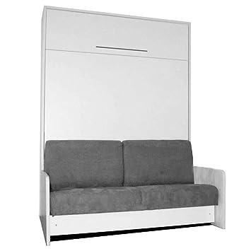 la moitié fb68c 4b609 LEADER BED Space Sofa Fast Armoire lit escamotable 140cm Blanche avec  canapé Microfibre Grise