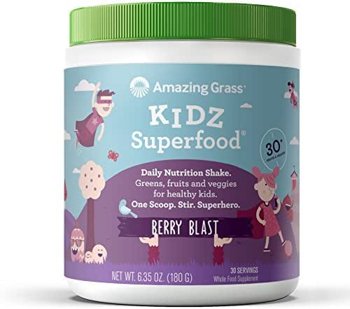 Amazing Grass Kidz Superfood: Organic Vegan Superfood Nutrition Shake for Kids, Greens, Fruits, Veggies with Pre and Pro Biotics, Berry Blast, 30 Servings