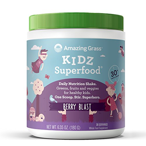 Amazing Grass Kidz Superfood: Organic Vegan Superfood Nutrition Shake for Kids, Greens, Fruits, Veggies with Pre and Pro Biotics, Berry Blast, 30 Servings (Best Superfoods For Weight Gain)