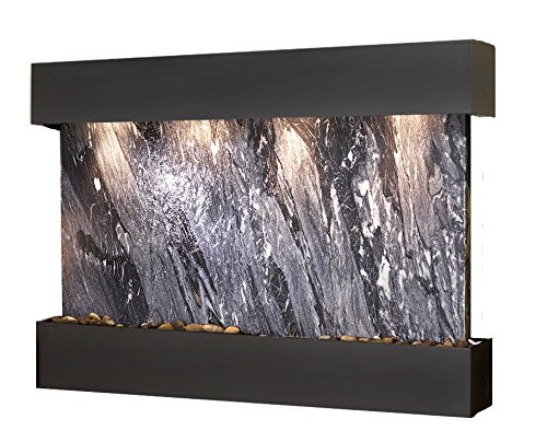 (Sunrise Springs Water Feature with Blackened Copper Trim and Square Edges (Black Spider Marble))